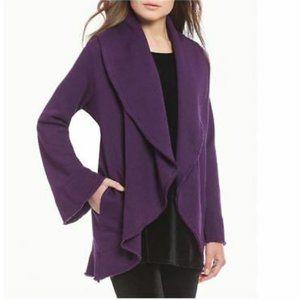 Bryn Walker Purple Cocoon Bell Sleeve Cardigan